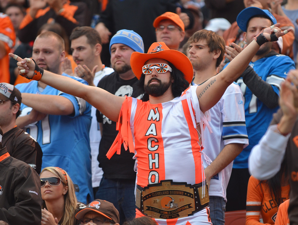 . Michael Allen Blair/MBlair@21st-CenturyMedia.com A macho Cleveland Browns\' fan celebrates a Browns\' first down during the second quarter versus the Lions at FirstEnergy Stadium in Cleveland, OH. on Sunday, October 13, 2013.