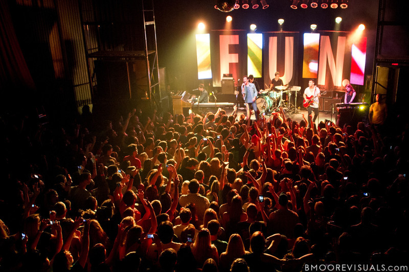 Andrew Dost, Nate Ruess, Nate Harold, Will Noon, Jack Antonoff, and Emily Moore of fun. perform duing a sold-out show in support of Some Nights on March 7, 2012 at State Theatre in St. Petersburg, Florida