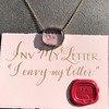'INV My Letter' Pale Pink Glass Rebus Pendant, by Seal & Scribe 10