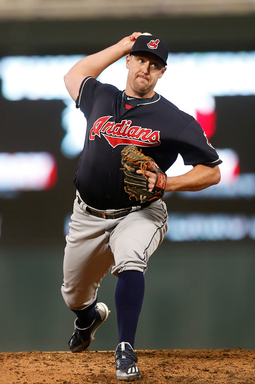 . Cleveland Indians relief pitcher Bryan Shaw throws against the Minnesota Twins in a baseball game Monday, April 17, 2017, in Minneapolis. The Indians won 3-1. (AP Photo/Jim Mone)