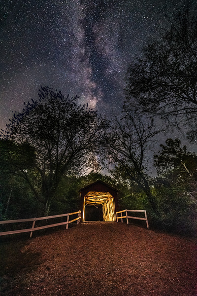 Sandy Creek Covered Bridge under the stars