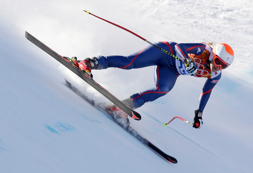 . Britain\'s Chemmy Alcott makes a turn during the women\'s downhill at the Sochi 2014 Winter Olympics, Wednesday, Feb. 12, 2014, in Krasnaya Polyana, Russia.(AP Photo/Charles Krupa)