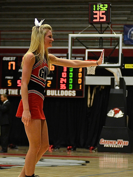 GWU Cheerleaders cheer on the fellow Running Bulldogs Basketball fans.