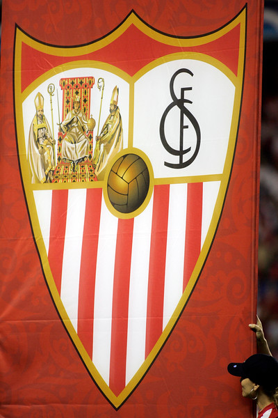 Sevilla FC badge displayed on the field before the UEFA Champions League first knockout round game (second leg) between Sevilla FC (Seville, Spain) and Fenerbahce (Istambul, Turkey), Sanchez Pizjuan stadium, Seville, Spain, 04 March 2008.