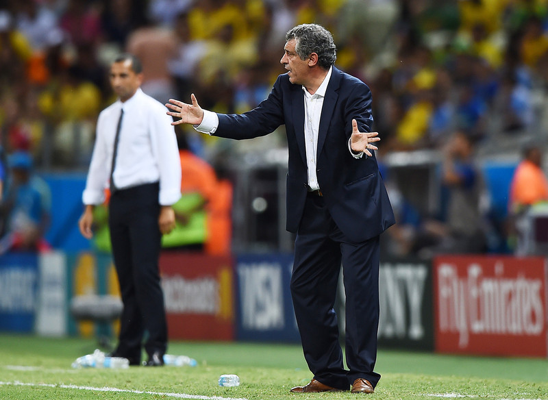 . Head coach Fernando Santos of Greece gestures during the 2014 FIFA World Cup Brazil Group C match between Greece and the Ivory Coast at Castelao on June 24, 2014 in Fortaleza, Brazil.  (Photo by Laurence Griffiths/Getty Images)