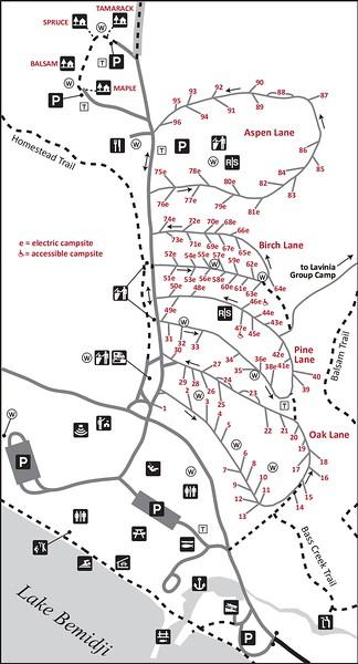Lake Bemidji State Park (Campground Map)