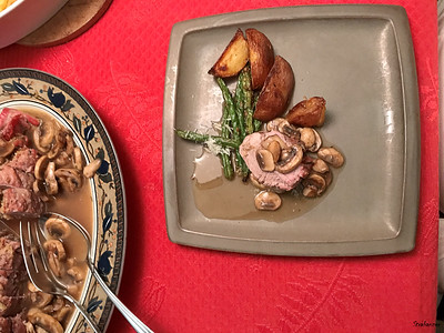 Prosciutto-Stuffed Pork Tenderloin with Shroom Sauce