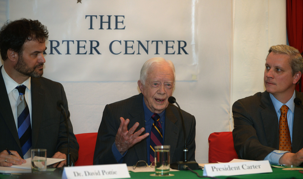 . Former US President Jimmy Carter (C) addresses a press conference in Kathmandu on April 1, 2013.  Carter is in Kathmandu on a  four-day visit. PRAKASH MATHEMA/AFP/Getty Images