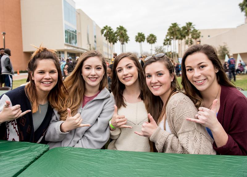 Jordan Garza(left) Anneliese Allgeyer, Alisha Gomez, Amanda Dunmire and Patricia King at the 2016 Homecoming Friday Fiesta.