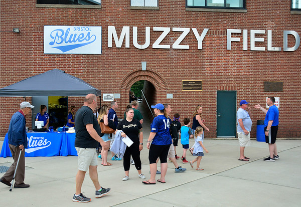 6/2/2018 Mike Orazzi | Staff Fans gather Saturday night for the home opener for the Bristol Blues' 2018 baseball season at Muzzy Field in Bristol.