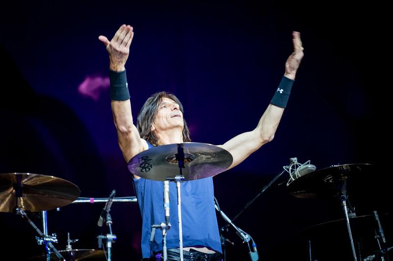 Judas Priest drummer, Scott Travis, encourages crowd to clap together.