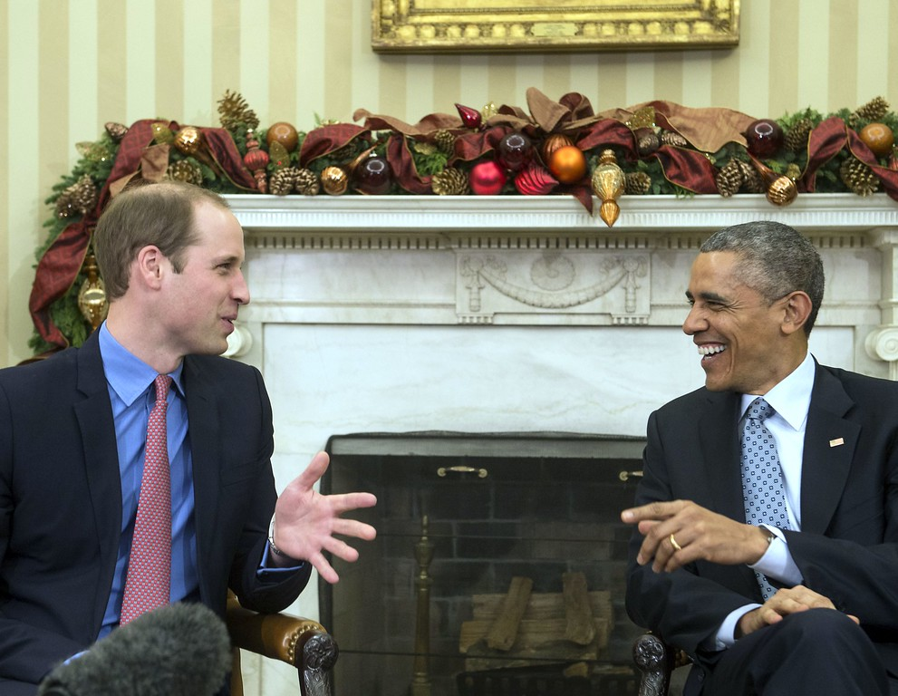 . US President Barack Obama meets with Britain\'s Prince William, Duke of Cambridge, in the Oval Office at the White House in Washington on December 8, 2014. William and his wife Catherine are on a three-day visit to the US.   AFP PHOTO/Nicholas  KAMM/AFP/Getty Images