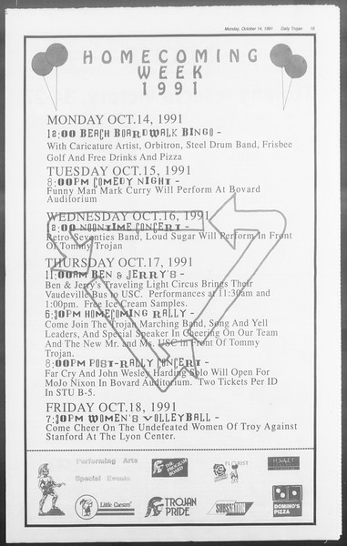 Daily Trojan, Vol. 116, No. 30, October 14, 1991