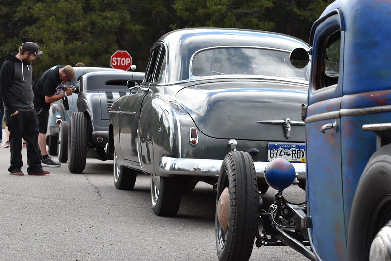 Encountered a group of hot rods and other classic vehicles taking a break near the entrance to Mt Evans.