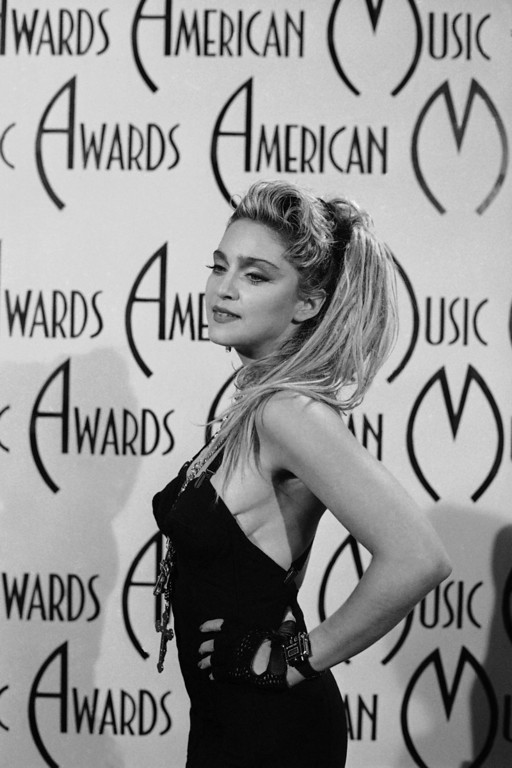 . Shown in photo is Madonna (singer) at American Music Awards on Jan. 28, 1985. (AP Photo)