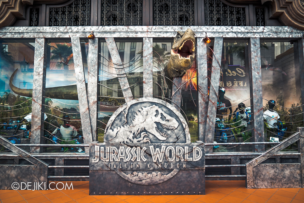 Universal Studios Singapore Park Update - Jurassic World Explore and Roar event - Jurassic World park decor / T-Rex store window
