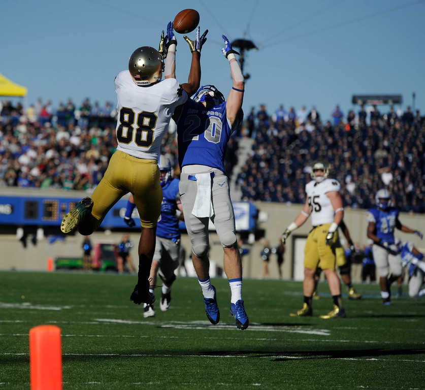 . COLORADO SPRINGS, CO - OCTOBER 26: Corey Robinson, left, Notre Dame, makes a catch against Gavin McHenry, Air Force, and runs in for a touchdown in the first quarter of play at Falcons Stadium Saturday afternoon, October 26, 2013. (Photo By Andy Cross/The Denver Post)