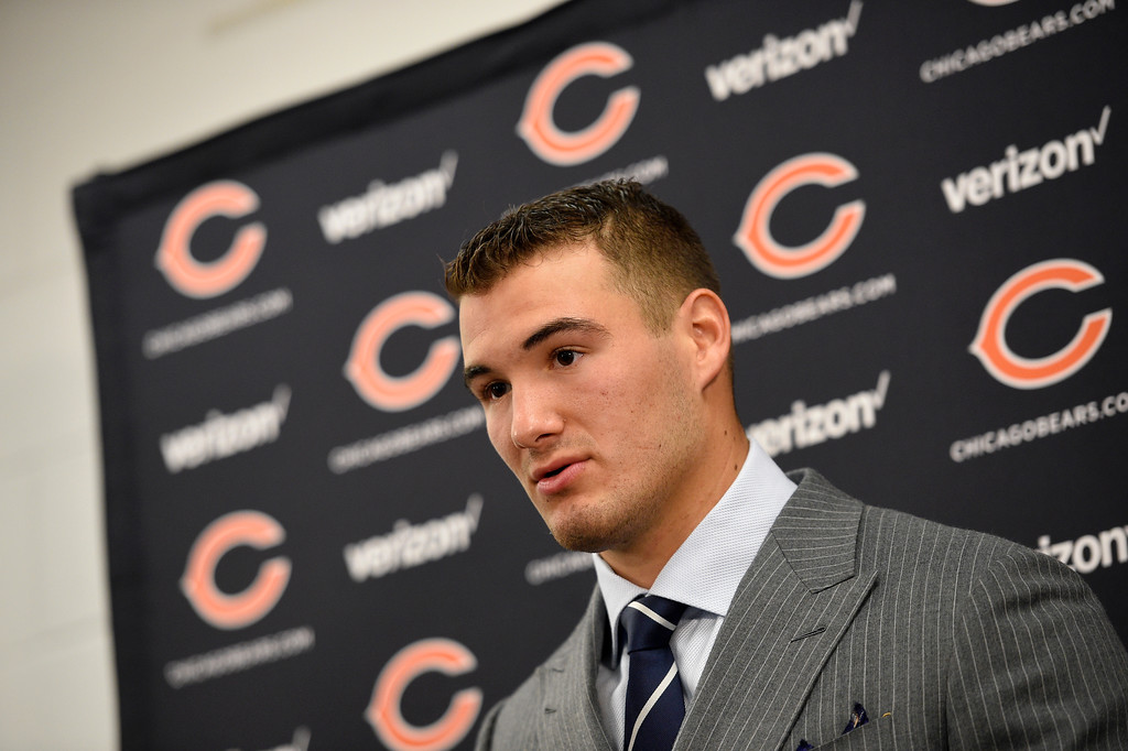 . Chicago Bears quarterback Mitchell Trubisky speaks at a news conference after an NFL football game against the Baltimore Ravens, Sunday, Oct. 15, 2017, in Baltimore. (AP Photo/Nick Wass)