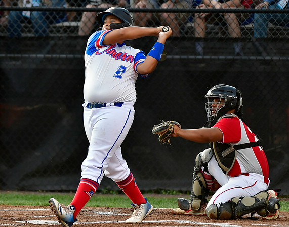 8/10/2019 Mike Orazzi | Staff New Jersey Elmora Youth Little League's Derek Escobar (2) after a swing and a miss during Saturday's Mid Atlantic Final baseball game with New York at Breen Field in Bristol, Conn.