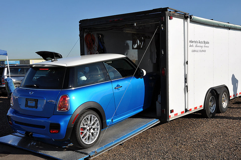 Umberto's new, very low mileage MINI was trailered to the track.