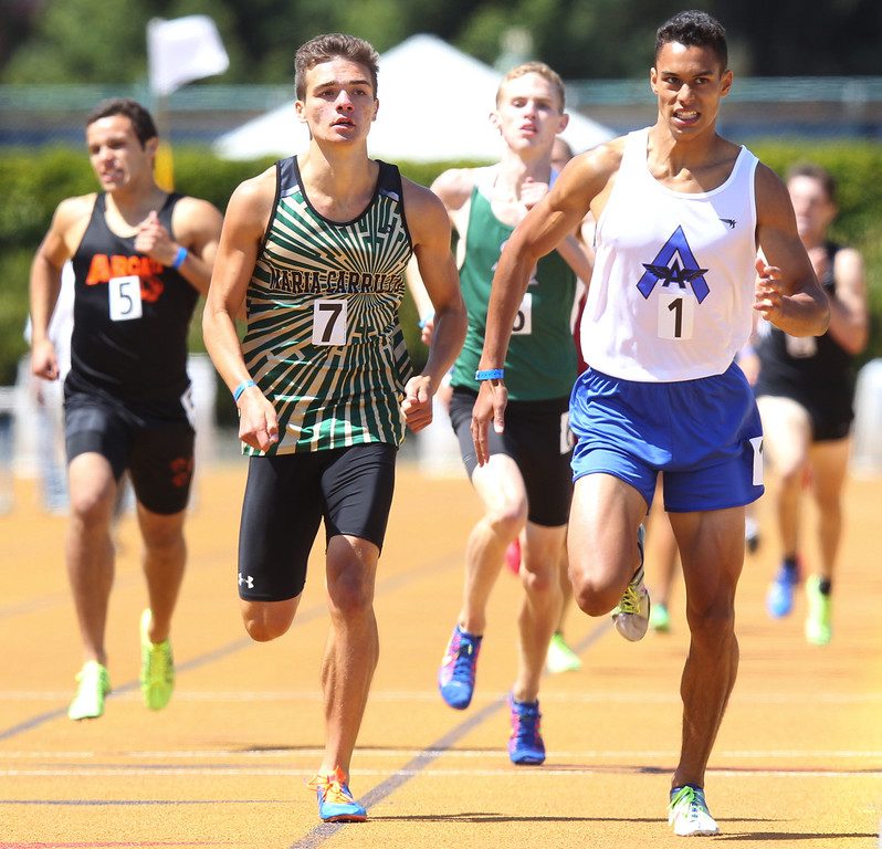 . Acalanes Adler Faulkner, right, fights off Maria Carrillo\'s Dante Hay, left, to win the boys 800 meter final at the North Coast Section Meet of Champions at Cal\'s Edwards Stadium in Berkeley, Calif., on Saturday, May 25, 2013.(Anda Chu/Bay Area News Group)