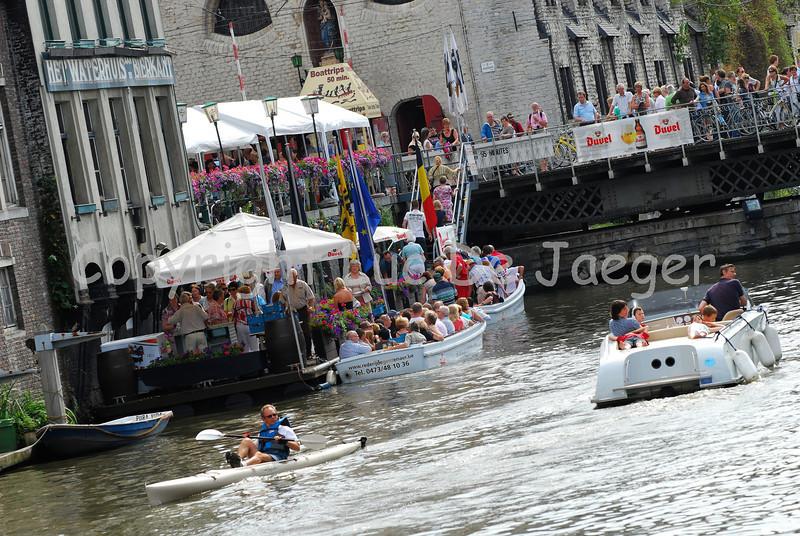 Day-time atmosphere along the Kraanlei in Ghent (Gent), Belgium, during the 2010 Ghent Festivities (Gentse Feesten).