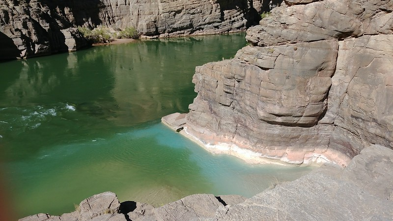 Colorado River confluence (2,093 ft). Mixing of Havasu Creek well known blue-green water with Colorado River