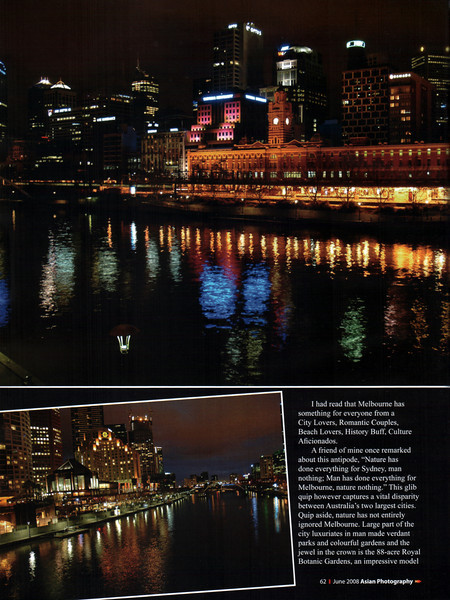 """Asian Photography June 2008  http://www.asianphotographyindia.com/ Travel Feature Article """"Marvelous Melbourne"""" on Melbourne, Australia by Anu (Arundhathi) & pictures by Suchit Nanda.   See it at:  http://www.asianphotographyindia.com/2008/june/Asian-Photography6.pdf  Asian Photography is India's premier and oldest photography magazine.   You can read the full article with full size images at:  http://suchit.net/writing/melbourne2008.htm"""