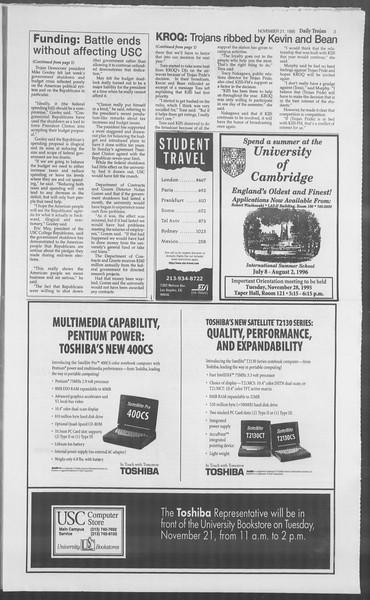 Daily Trojan, Vol. 126, No. 57, November 21, 1995