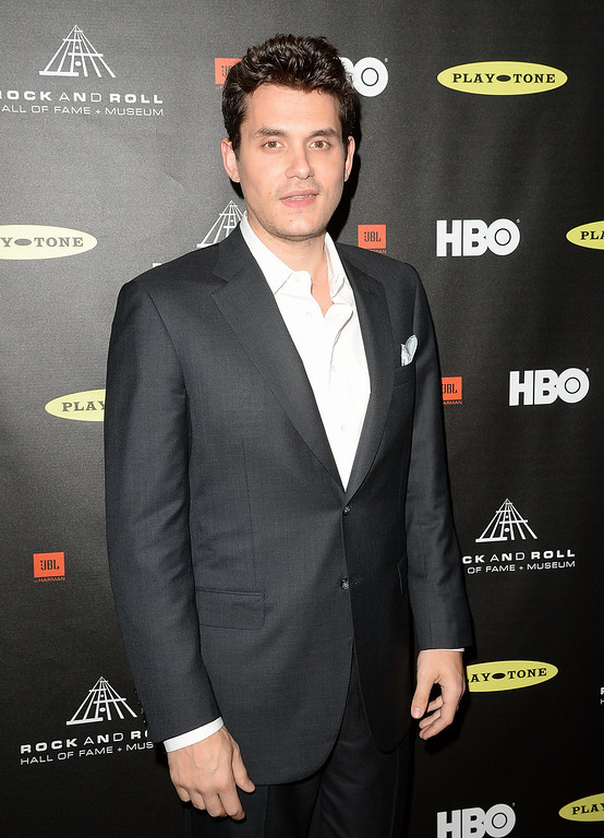 . Musician John Mayer arrives at the 28th Annual Rock and Roll Hall of Fame Induction Ceremony at Nokia Theatre L.A. Live on April 18, 2013 in Los Angeles, California.  (Photo by Jason Merritt/Getty Images)