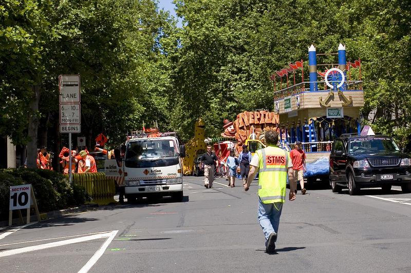 Float marshalling area Santa Parade Auckland  New Zealand - 27 Nov 2005