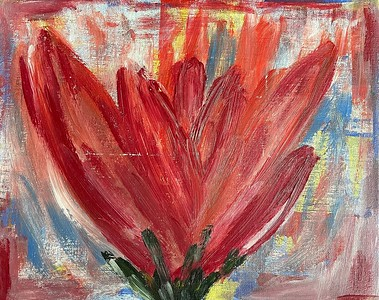 """""""Lillies Are Red"""" (acrylic on canvas) by Ksenia Janssen"""