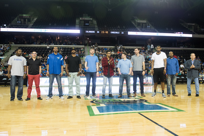 The 2006-2007 Mens Basketball team being Honered at Half time