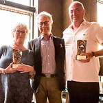 image of Sally Brock, EBL President Jan Kamras and EBL E.C. member Jafet Ólafsson (receiving the award on Jon Baldursson's behalf)