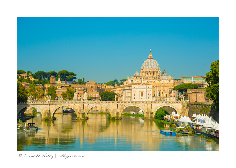 Ponte Umberto and St. Peter's Basilica, Rome Italy