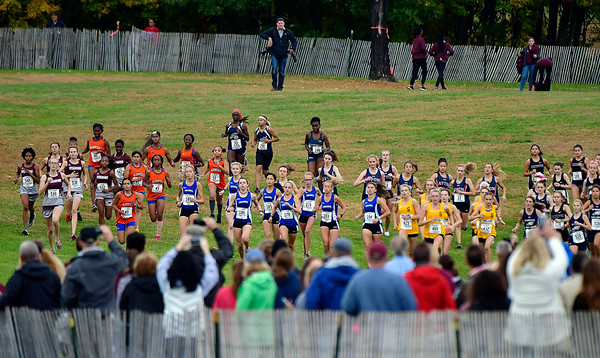 10/16/2019 Mike Orazzi | StaffrThe start of the girls CCC XC Championship held at Wickham Park in Manchester on Wednesday.