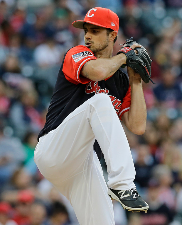 . Cleveland Indians starting pitcher Ryan Merritt winds up during the first inning of the team\'s baseball game against the Kansas City Royals, Friday, Aug. 25, 2017, in Cleveland. (AP Photo/Tony Dejak)