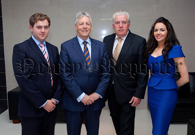 During his visit to Newry for the Chamber of Commerce dinner First Minister Peter Robinson also visited the offices of MJM Marine and is pictured where with Managing Director Brian McConville along with Conleth and Naoimh McConville. R1427123