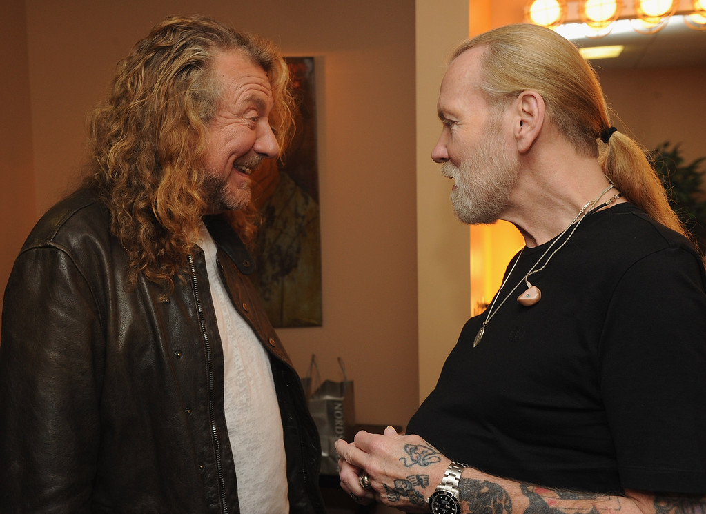 . Singers/Songwriters Robert Plant and Gregg Allman backstage at the 10th Americana Music Association honors and awards at the Ryman Auditorium on October 13, 2011 in Nashville, Tennessee.  (Photo by Rick Diamond/Getty Images)