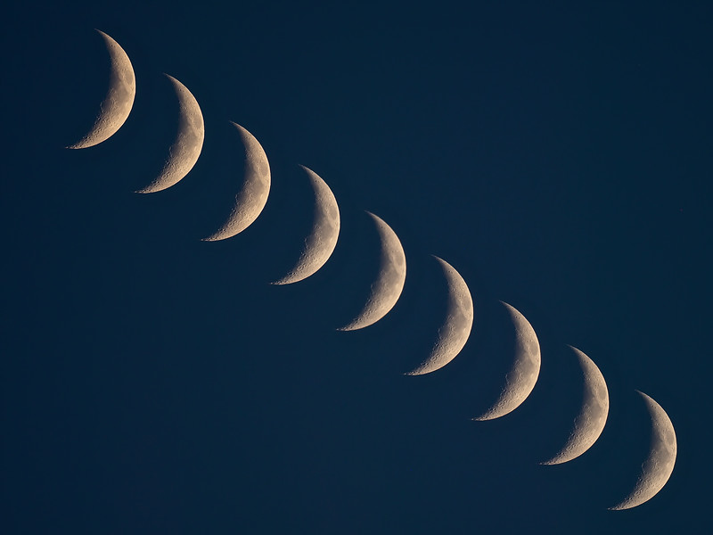 Crescent Moon Multiple Exposure