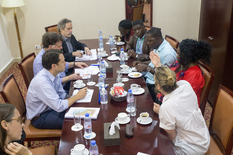 Monrovia, Liberia October 7, 2017 - Carter Center members meet with other election monitoring groups prior to the election.