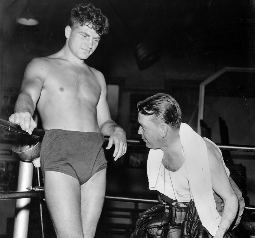 . Oakland, CA October 26, 1940 - Lou Nova (left) and his trainer Harold Broom train at a local gym for an upcoming fight at the Auditorium. (Oakland Tribune Photo)
