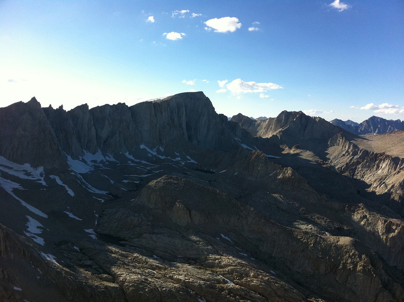 Taken with my iPhone.  Mt. Irvine summit view.  The Sierra crest towards Mt. Whitney and Mt. Russell.