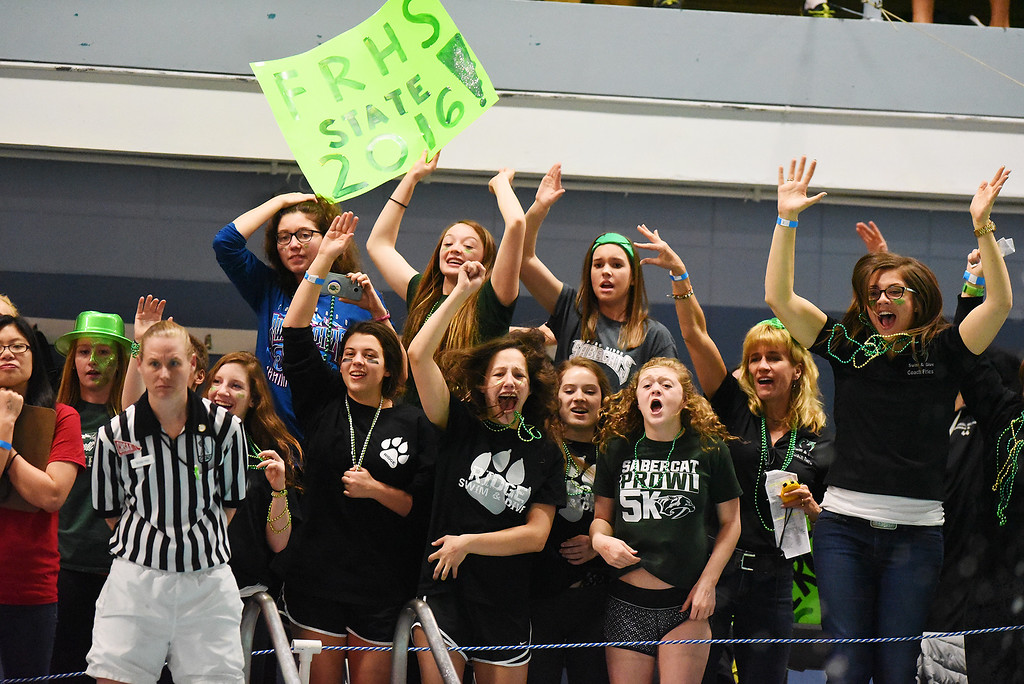 . Fossil Ridge supports cheer on Bailey Kovac during the 100 Yard Breaststroke at the girls 5A State Swim meet held at Edora Pool and Ice Center on Saturday. (Photo by Kira Horvath/ The Denver Post)
