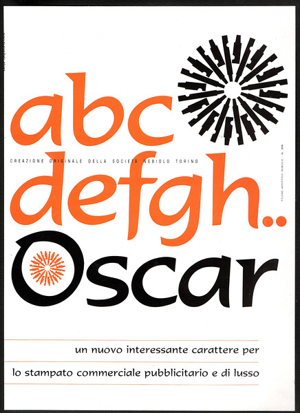 Prospectus of Oscar, designed by Aldo Novarese for Nebiolo. 1960s.