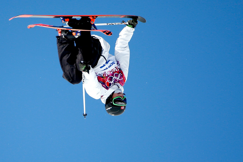 . Oystein Braaten of Norway in action during the Men\'s Freestyle Skiing Slopestyle qualification in the Rosa Khutor Extreme Park at the Sochi 2014 Olympic Games, Krasnaya Polyana, Russia, 13 February 2014.  EPA/VALDRIN XHEMAJ