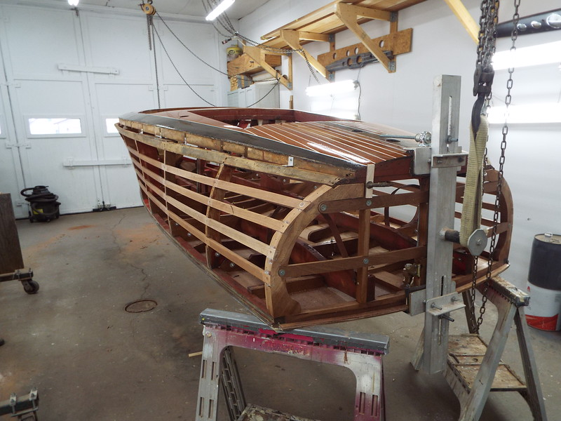 Rear port view of the hull right side up.