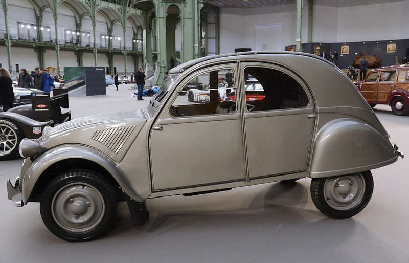 . A Citroen 2CV is pictured as luxury vintages cars are displayed at an auction at the Grand Palais on February 6, 2013 in Paris. 125 vintage motor cars, 100 collection motorbikes and a 1920\'s Gipsy Moth plane by De Havilland, will be presented at the Bonhams auction on February 7.  BERTRAND GUAY/AFP/Getty Images