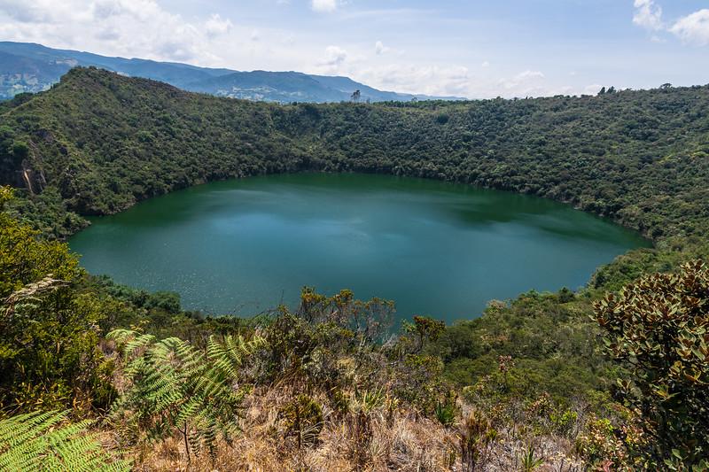 Lake Guatavia, Colombia. Circular lake in the mountains.