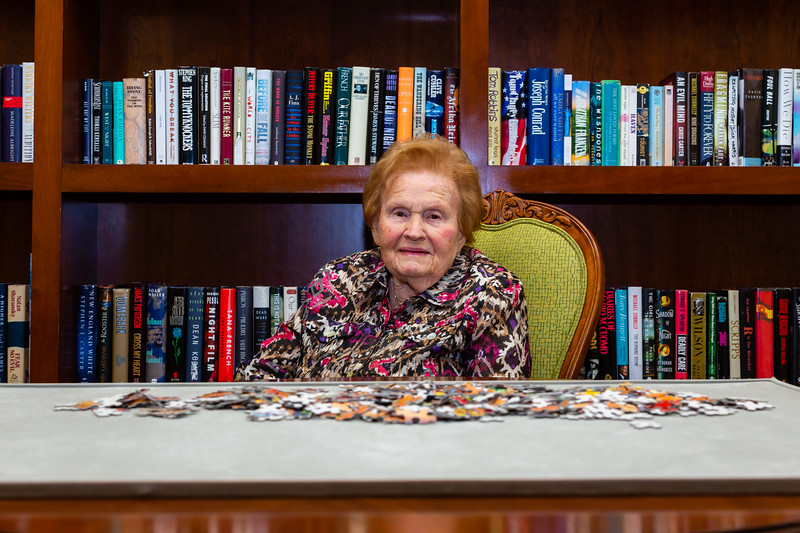 Rita Bauman, 96, sits in the library in front of a jigsaw puzzle at Tradition at MorseLife in West Palm Beach on Wednesday, October 31, 2018.  Bauman, originally from New Jersey has lived at Tradition for 6 years. [JOSEPH FORZANO/palmbeachpost.com]